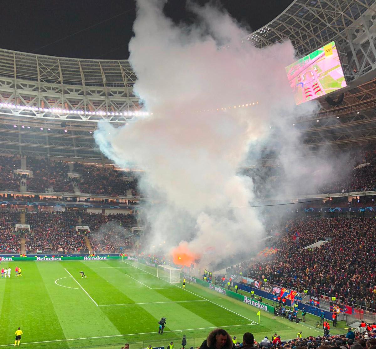 CSKA Mosca - Roma: fumogeni dalla curva russa