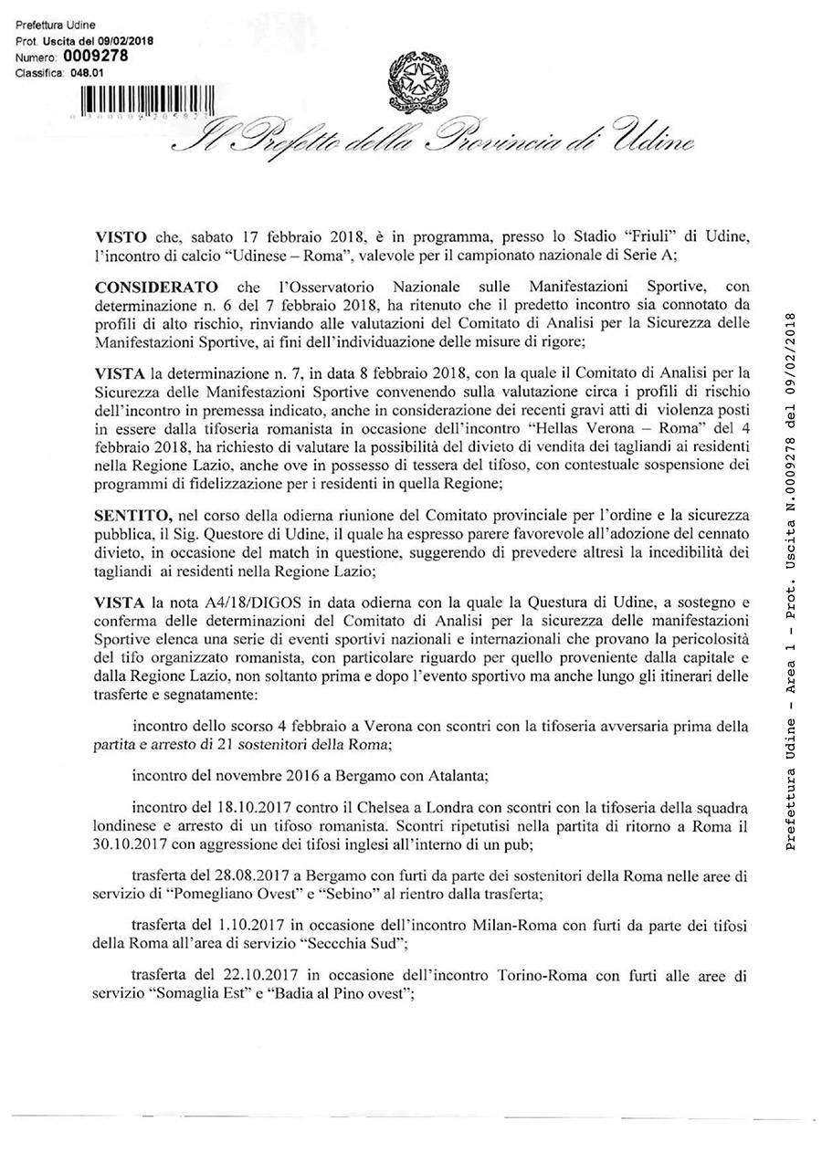 Prefettura di Udine: trasferta vietata ai tifosi della Roma per Udinese - Roma