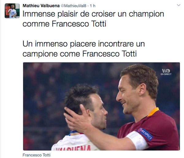 Valbuena: un piacere incontrare un campione come Totti