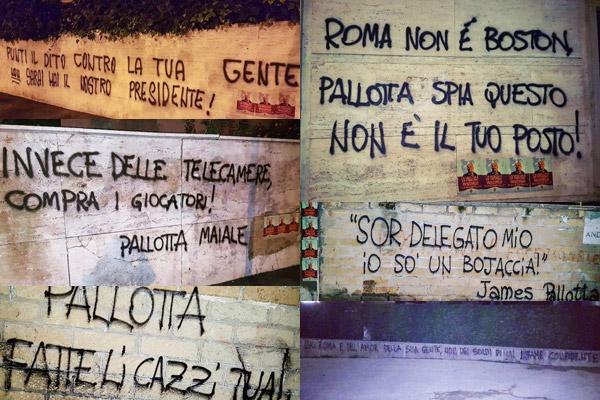 Roma, ancora scritte e manifesti contro James Pallotta (foto)